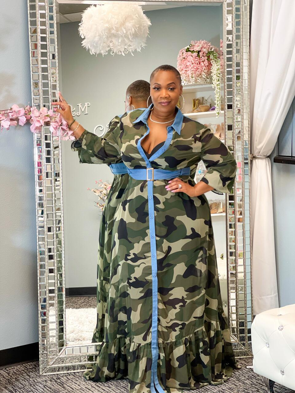 Casual Button Up Camouflage Plus Size Maxi Dress