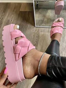 Particular Solid Cross Elevator Shoes Slide Slippers