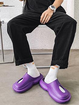 Homewear Solid Hollow Out Platform Sandals