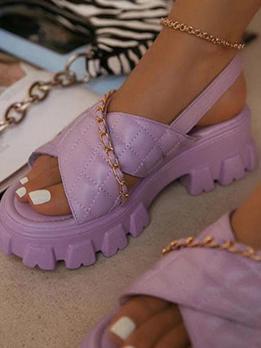 Normal Platform Chain Solid Heeled Sandals