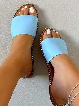 Solid Summer Homewear Flat Sole Slide Slippers