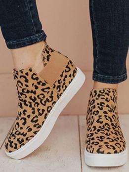Leopard Print Plus Size Casual Slip On Shoes