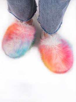Lovely Faux Fox Fur Fluffy Slide Slippers