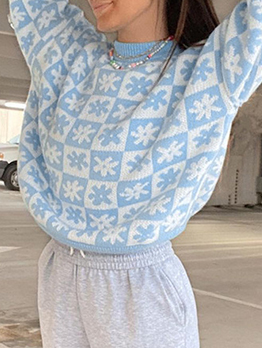 College Style Crew Neck Long Sleeve Pullover Sweater