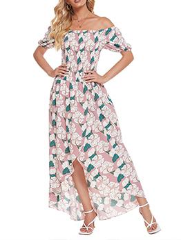 Vacation Printed Beach Wear Off Shoulder Maxi Dress