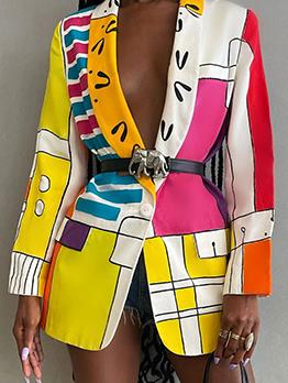 Register Printed Casual Fashion Trendy Blazer Coat