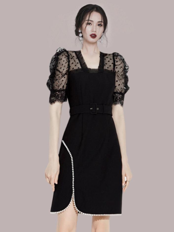 Retro Style Patchwork Dot Lace Short Sleeve Dress