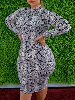 Plus Size Snake Print Sexy Maxi Dress