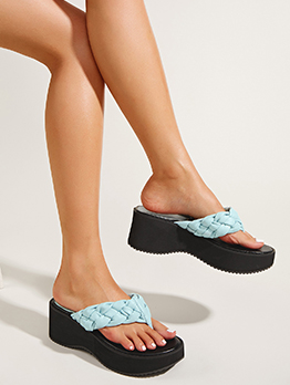 New Weaving Wedge Flip Flop Slippers