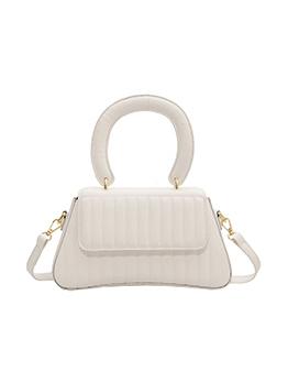 Pure Color Street Hasp Shoulder Handbag For Women