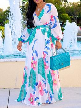 Plus Size Chiffon Tie Wrap Maxi Dress