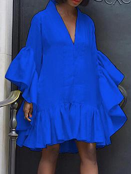 New Ruffled V Neck Long Sleeve Dress
