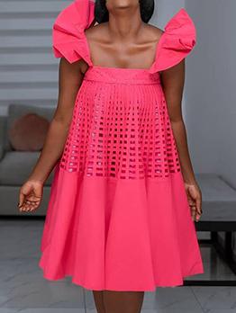 New Ruffles Sleeveless Loose Midi Dress