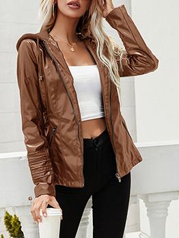 Trendy Fashion Faux-Leather Jacket Coat Women