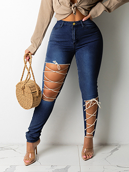 Trendy Holes Tie Wrap Plus Size Skinny Jeans