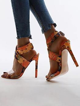 Summer Hollow Out Print High Heels
