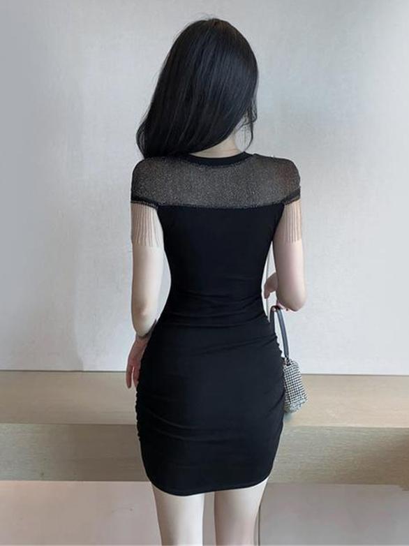Attractive Patchwork Fringe Short Sleeve Dress