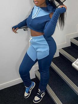 Color Block Cold Shoulder Crop Top And Pant Set