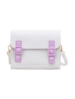 Fashion Solid Contrast Color Hasp Shoulder Bag