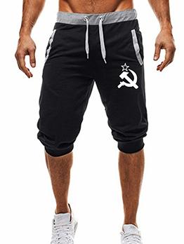 Active Casual Printed Pocket Capri Pants For Men