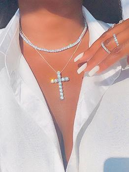 Hip Hop Cross Rhinestone Shinny Necklaces