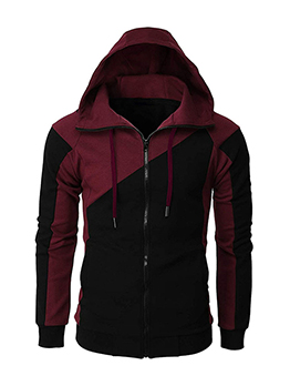 Trendy Contrast Color Hooded Collar Outerwear