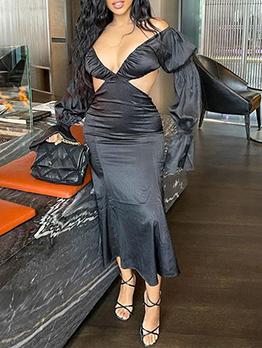 V Neck Sexy Backless Flare Sleeve Midi Dresses