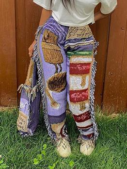 Loose Tassel Print Long Pants For Women
