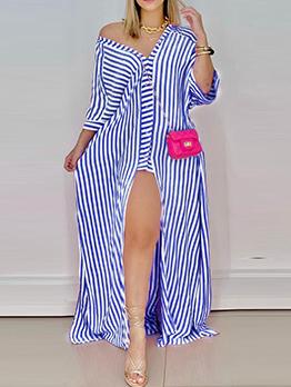 Modern Striped Loose Fitting Slit Maxi Dress