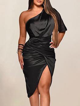 Satin Solid One Shoulder Slit Short Sleeve Dress