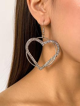 Eye-Catching Heart Rhinestone Hollow Out Earring