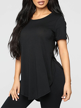 Casual Fashion Slit Design Plus Size Women T-Shirt