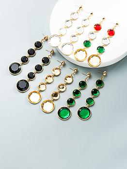 Shinny Colorful Round Shape Rhinestone Long Earring