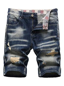 Summer Loose Hole Straight Denim Short Pants