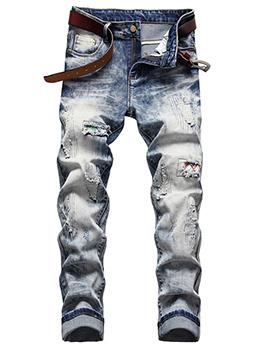 Contrast Color Ruched Denim Jeans Men