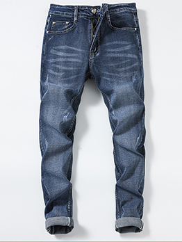 New Straight Mid Waist Denim Pants