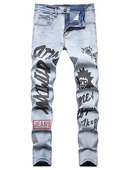 Hip Hop Light Blue Register Print Jeans