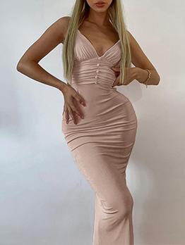 Sexy Deep V Neck Elegant Camisole Midi Dresses