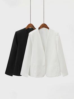 Korean Pure Color Long Sleeve Blazer Coat