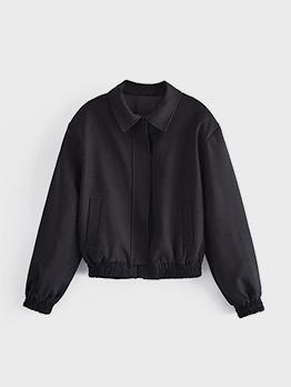 Zipper Up Black Solid Long Sleeve Jacket Coat