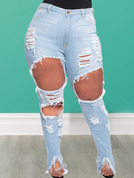 Plus Size Fitted Hollow Out Jeans For Women