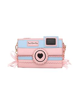 Lovely Heart Patchwork Contrast Color Shoulder Bag