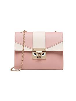 Korean Contrast Color Patchwork Chain Shoulder Bag