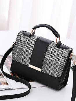 Plaid Contrast Color Hasp Shoulder Bag For Women