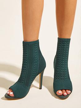 Solid Fashion Peep Toe High Top Heeled Sandals