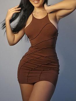 Sexy Brown Backless Spaghetti Strap Sleeveless Dress