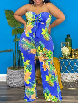Hot Sale Plus Size Print Strapless Jumpsuit