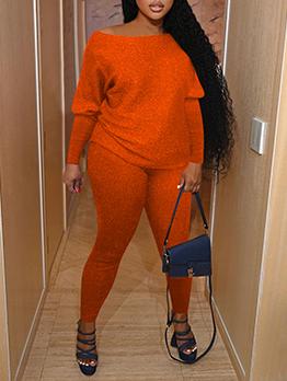 Casual Pure Color 2 Piece Long Pant Sets