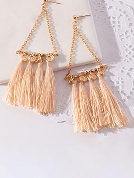Bohemia Style Golden Fringe Long Earring