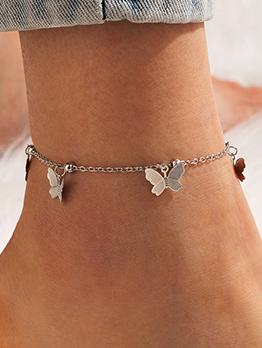 Butterfly Hollow Out Solid Beach Simple Anklets